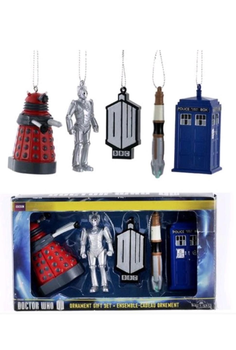 5 PACK DR WHO XMAS ORNAMENTS