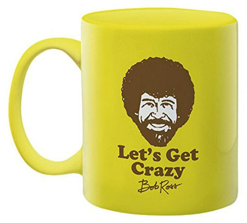 bob ross lets get crazy coffee mug