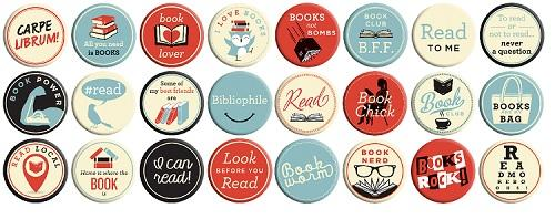 BOOKS ROCK BUTTONS ASSORTED