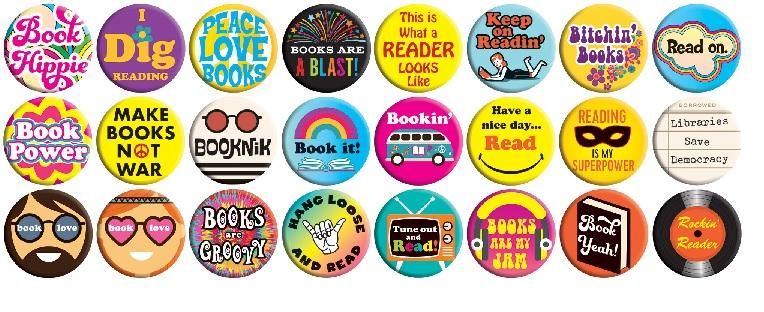 Peace Love & Books Buttons