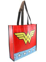 Wonder Woman Star Print with Logo Red Shopping Bag