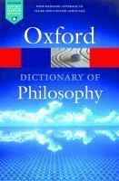 The Oxford Dictionary of Philosophy 3ed
